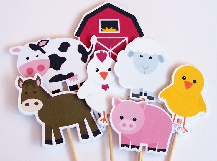 Farm Birthday Party - Set of 12 Farm Buddies Cupcake Toppers by The Birthday House