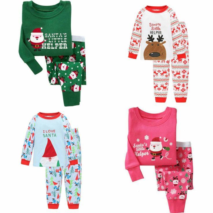 Unisex Crianças Pijama Conjunto de Caracteres Padrão de Natal do Homem da Neve/Veados Roupas de Algodão O-pescoço Gola Terno Para 2-6 as idades Das Crianças Do Bebê