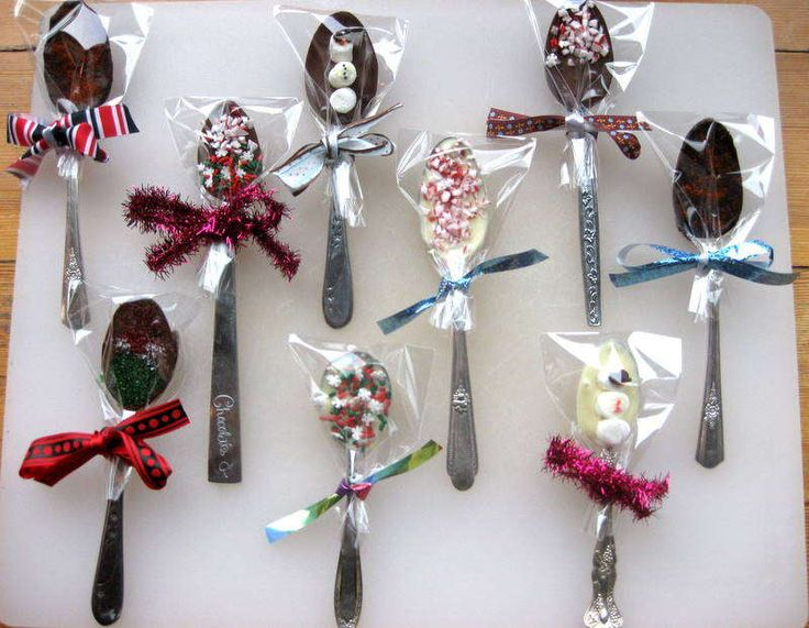 chocolate dipping spoons... go to a thrift store and buy a bunch of old random spoons with pretty handles....SO CHEAP! GREAT STOCKING STUFFERS...I MIGHT JUST DO THIS