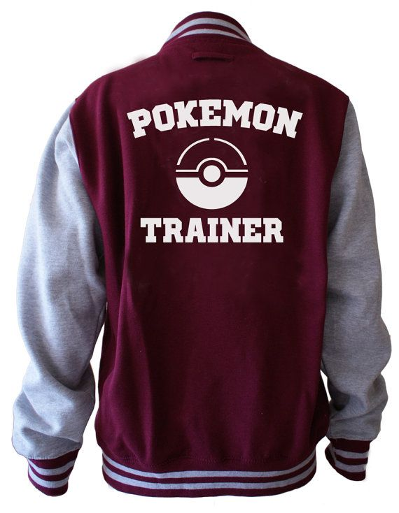 Pokemon trainer , I found this really awesome Etsy listing at https://www.etsy.com/listing/237311828/pokemon-trainer-unisex-varsity-jacket
