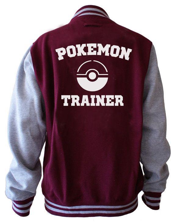 Pokemon trainer , I found this really awesome Etsy listing at https://www.etsy.com/listing/237311828/pokemon-trainer-unisex-varsity-jacket