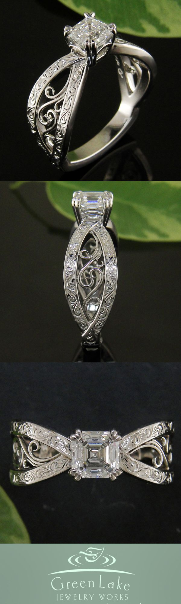 Pierced bow shape mounting with double-prong set diamond. Gorgeous setting, would be brilliant with a different shaped stone.