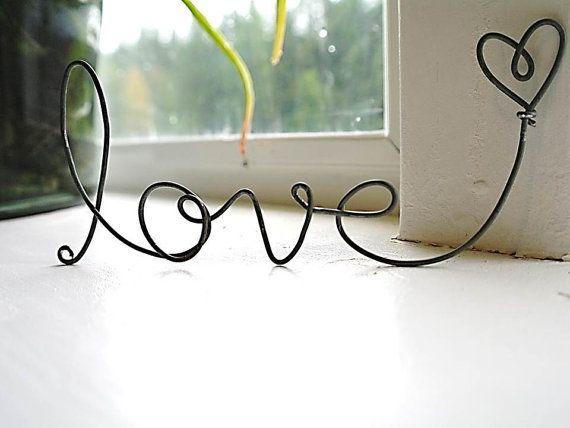 cursive love heart wire word Frame ornament by SatarasWireCrafts, kr50.00