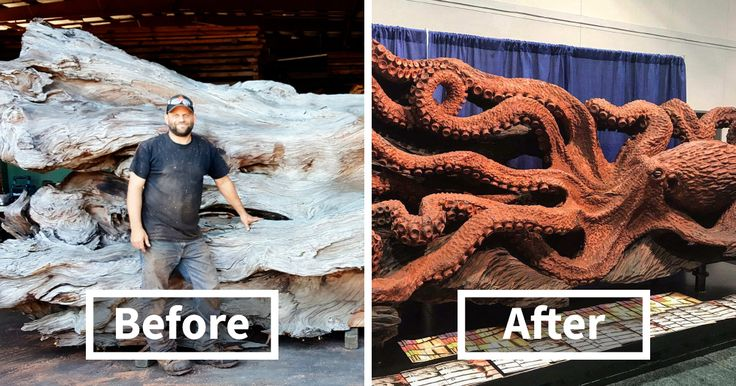 Artist Turns Fallen Redwood Tree Into Giant Octopus Using Chainsaw