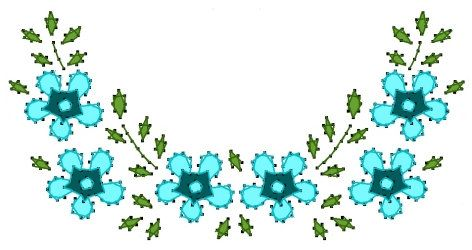 Floral Half Circle Vine Embroidery Pattern for Greeting by Darse, $1.50