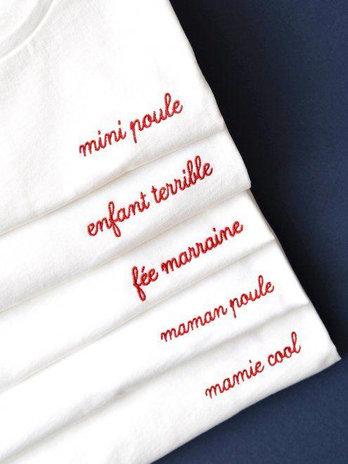 Le t-shirt brodé Enfant Terrible - blanc EMOI EMOI - Photo