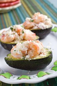 Shrimp Stuffed Avocados.  Sorry for slipping in a seafood post, but I'm a pescetarian. Trying these tonight cause it sounds so good!