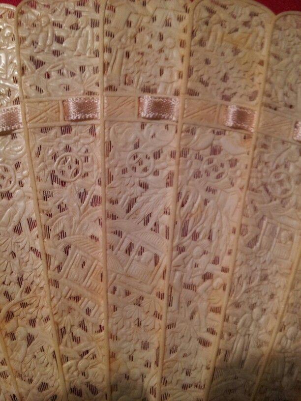 Ivory fan detail