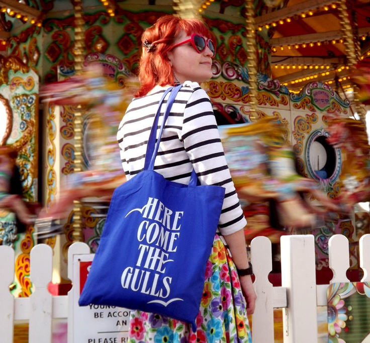 Here Come The Gulls Screenprinted Blue Tote Bag by hello DODO