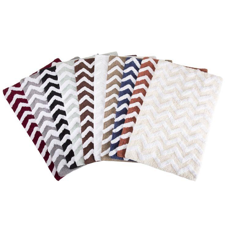Windsor Home 100-percent Cotton 2-piece Chevron Bathroom Mat Set in