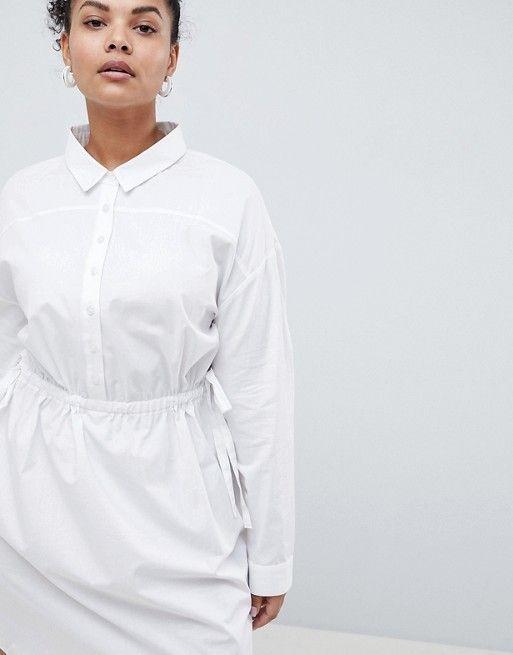 69ba7dc03e1b ASOS Curve | ASOS CURVE Cotton Shirt Dress with Ruching Mini Shirt Dress,  Cotton Shirt
