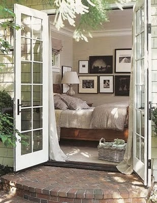 French doors for the bedroom.: The Doors, Beds Rooms, Idea, Brick Step, French Doors Bedrooms, Patio, Master Bedrooms, House, Guest Rooms