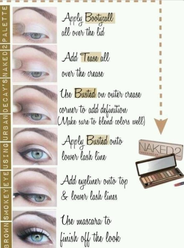 Urban Decay Naked 2 Palette Tutorial. Love this...I've been using my Urban Decay palette a lot and this is perfect. ♥