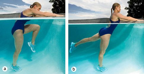 Knee Tuck  TARGETS: Abs, butt. Stand 2 feet away from side of pool, feet hip-width apart and hands resting on wall. Draw left knee into chest, rounding back and contracting abs (a). Extend leg behind you, squeezing through glutes (b). Continue for 30 seconds. Switch legs, and repeat for 30 seconds to complete 1 set.
