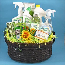 cleaning supply gift basket.  you could do this for much less by purchasing the cleaning supplies individually yourself.  great shower/wedding gift.
