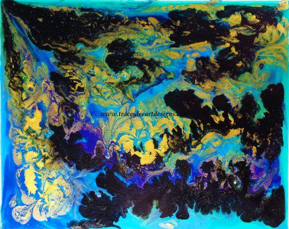 Original painting Purple Gold Rush by by Traceyleeartdesigns
