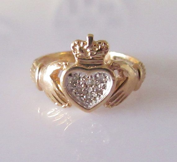 Vintage 9ct gold and Diamond Claddagh Ring by Britishgoldandsilver