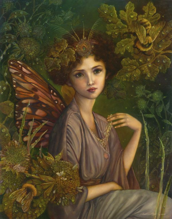 "Annie Stegg ~ The Faerie Queen | from the Thumbelina Collection | Oil on panel, 11"" x 13"" 