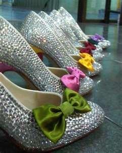 Silver rainbow-wedding bow shoes