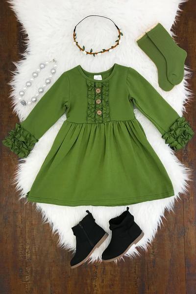 The Amelia Dress - OLIVE GREEN