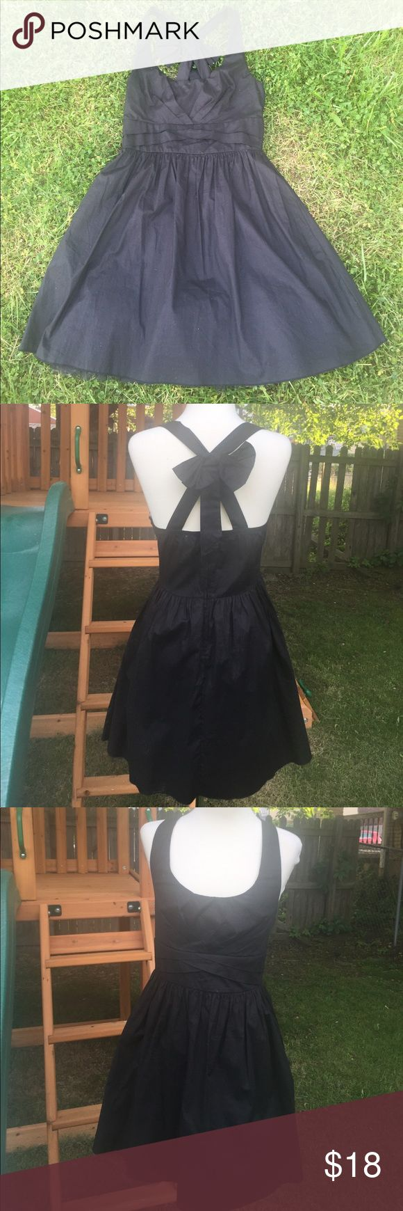 Cute Missy Dress With Bow in Back Black cotton missy dress with tulle underlay. Ruby Rox Dresses Backless