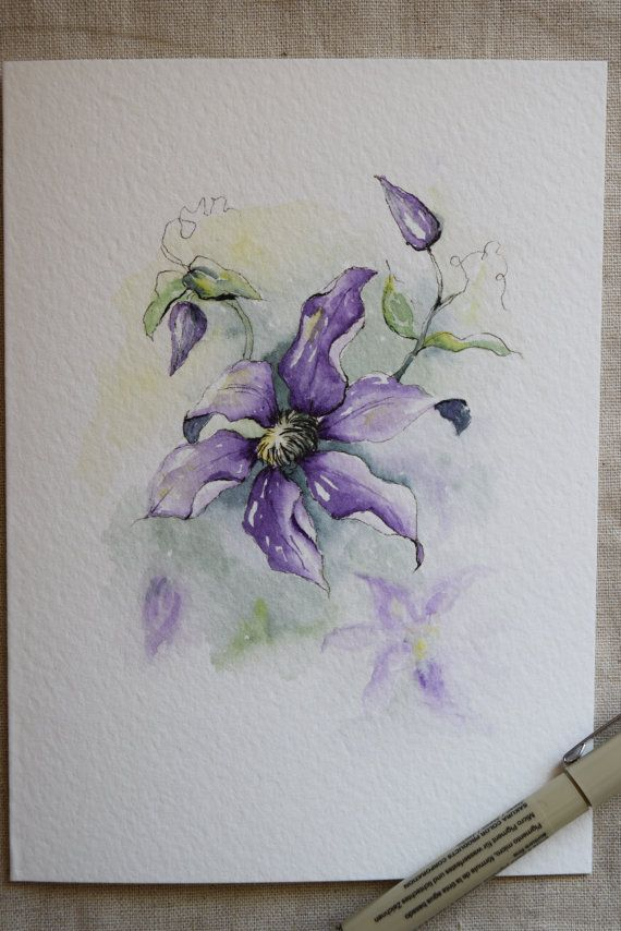 Acuarela de escalada Clematis púrpura-impresiones de tarjeta