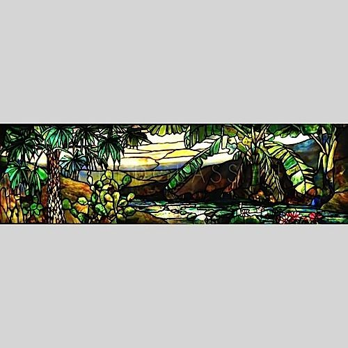 Jungle Landscape Stained Glass for would look marvelous in your bathroom.
