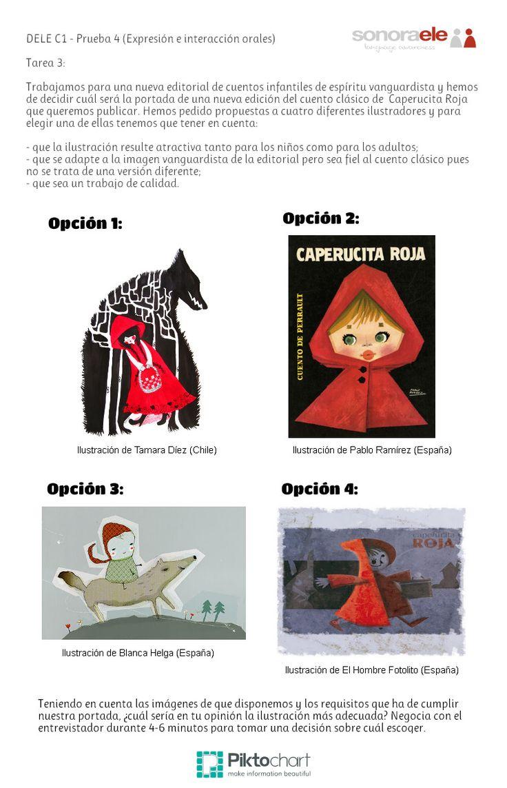 DELE C1 - Prueba 4, Tarea 3: Negociación con el entrevistador con el propósito de elegir una portada para el cuento de Caperucita Roja.
