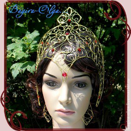 "шлем ""Афина"" - золотой,шлем,Афина,богиня,ожерелье,серьги,комплект,wire wrap"