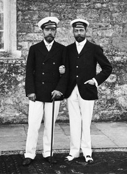 Tsar Nicholas II and George Prince of Wales, Isle of Wight, 1909. : Queen Elizabeth, Majesti Queen