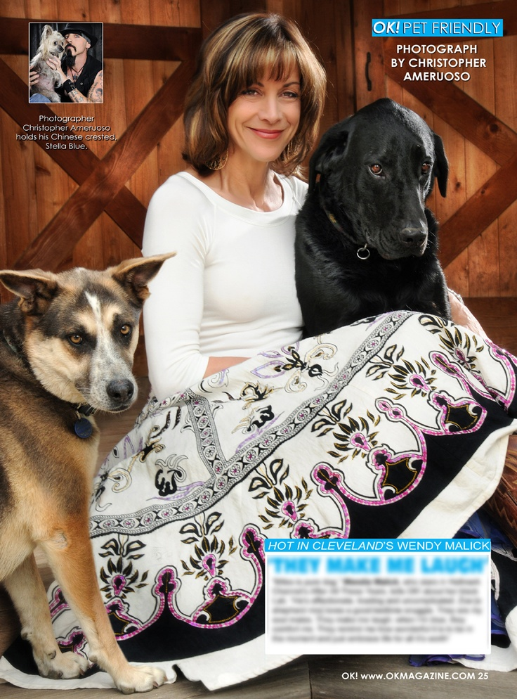 This week my OK! Pets page in OK! Magazine we feature Wendie Malick star of 'Hot In Cleveland' and amazing animal rights advocate with her two dogs. On Stands today.