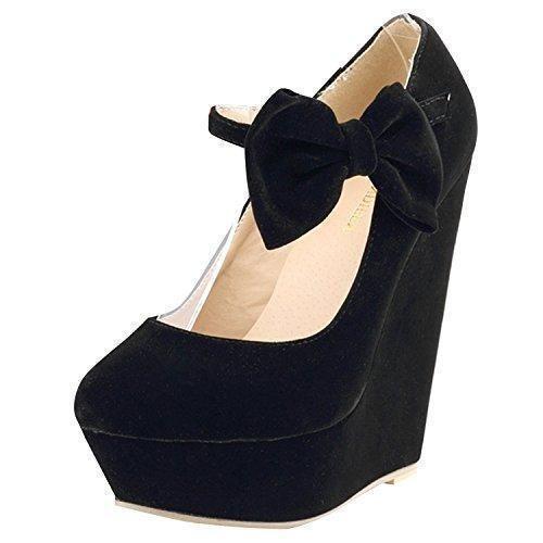 Oferta: 29.99€ Dto: -14%. Comprar Ofertas de Oasap Mujer Zapatos de Cuña Color Caramelo Pajarita Correa-Tobillo barato. ¡Mira las ofertas!