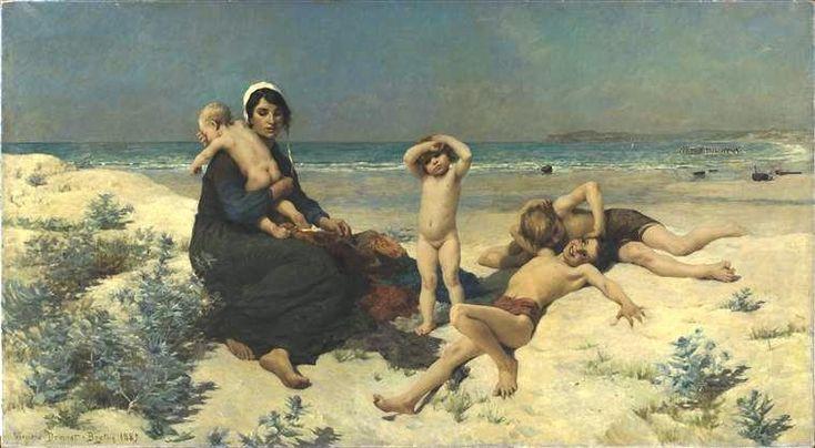 La plage - 1889, par Virginie Demont-Breton -  musée des beaux-arts d'Arras