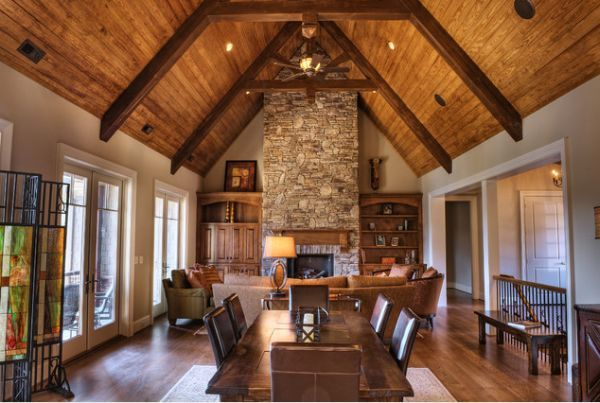 Photo Of Interior Trusses Lovevly Rustic Cottage
