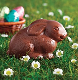 Fairtrade chocolate Easter bunny and eggs