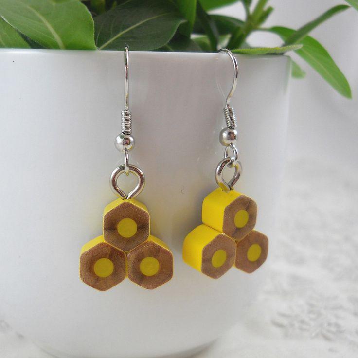 Colored Pencil - Earrings - Dangle - Pencil - Triangle - Teacher Gift - Teacher - Jewelry - Mice Art - Cross Cut - Geometric - Yellow