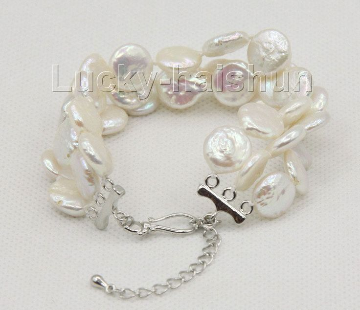 "adjustable 7""-9.5"" 3row 12mm coin fastener white pearls bracelet j10034 #Unbranded #Beaded"