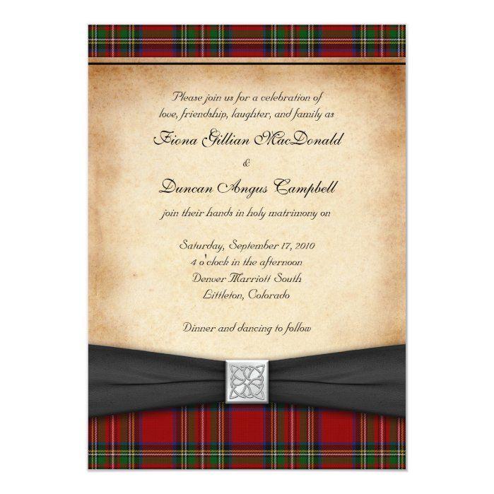 Christmas plaid wedding invitations