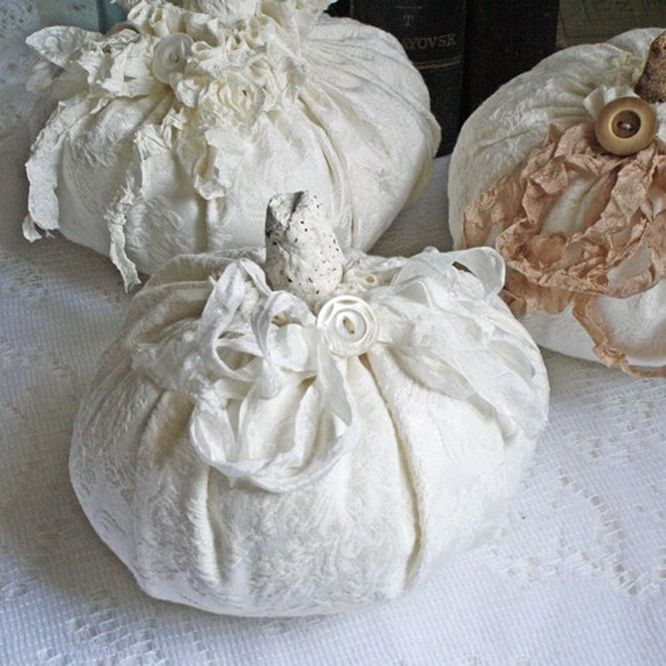 [Decoration] : Astonishing White Halloween Theme With Three Package Made From Fabric In White Color With Unique Rope In Assorted Color