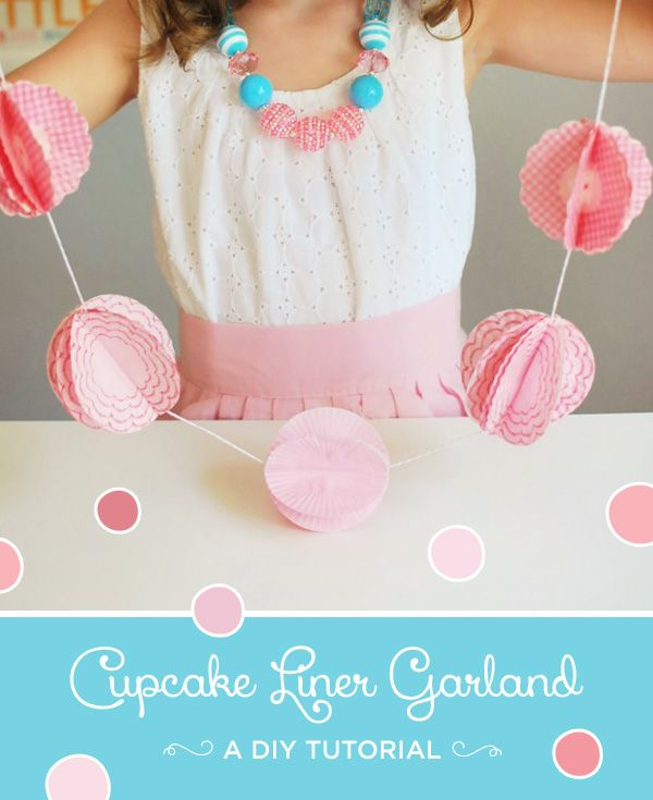 This pretty garland made from cupcake liners can easily be made in any color and size you want. So pretty!