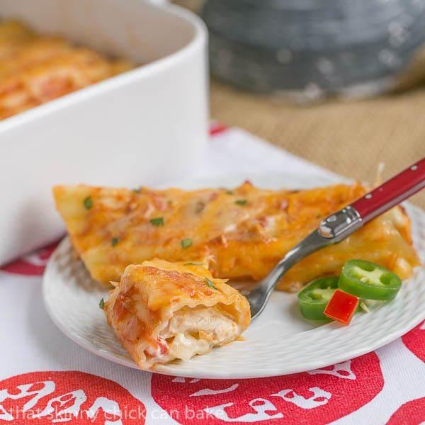 If there's a need for comfort food at the end of the day, this creamy Mexican Chicken Manicotti will fit the bill.