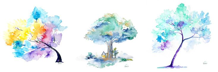 Watercolor Trees by Susan Lin - Custom Frames Online