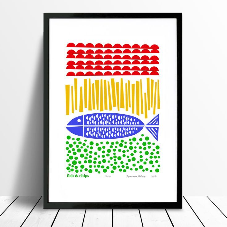 ARTFINDER: Fish and Chips Print - FRAMED for WOR... by Lu West - Fancy some Fish and Chips by the seaside? Britain's favourite dish: Fish and Chips! Printed by hand in Luzelle's Kew Gardens, London studio.   The artwork ...