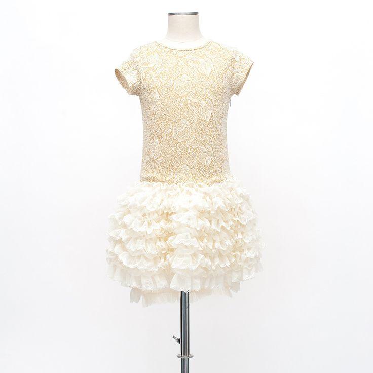 Miss Grant udsalg børnetøj Blonde kjole med skørt af tyl flæser tilbud børnetøj