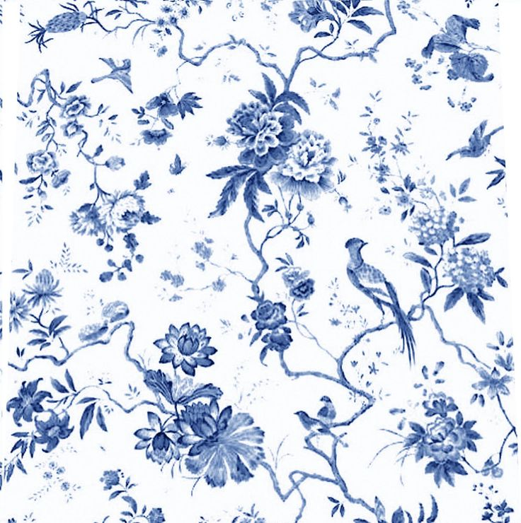 blue toile birds