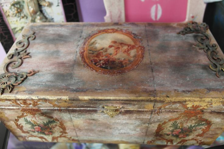 decoupage marble effect and burning techinc