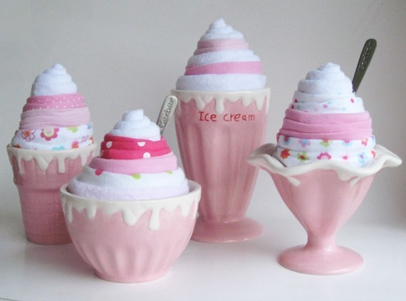 Instead of diaper cakes, onesie (washcloth and hat) ice cream cones!