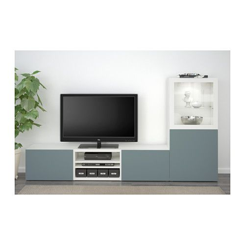 BESTÅ Alm TV - riel para cajón con cierre suave, blanco/Valviken vidrio transp gris/turq - IKEA