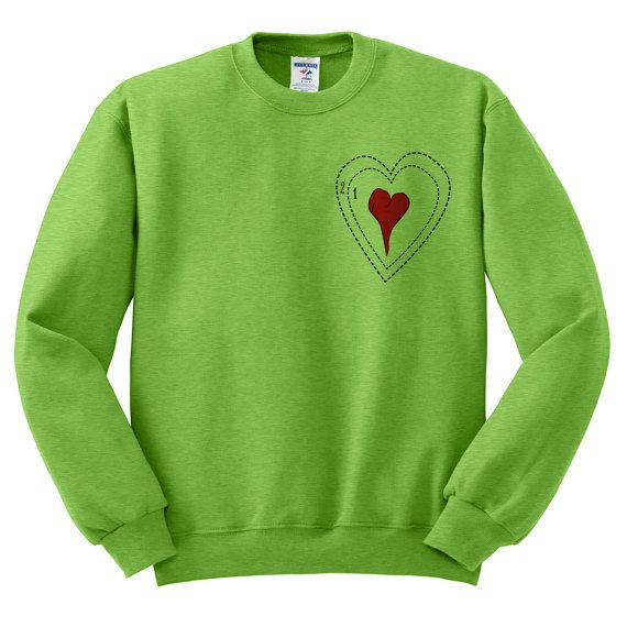 Crewneck Grinch Heart Ugly Christmas por TeesAndTankYouShop en Etsy
