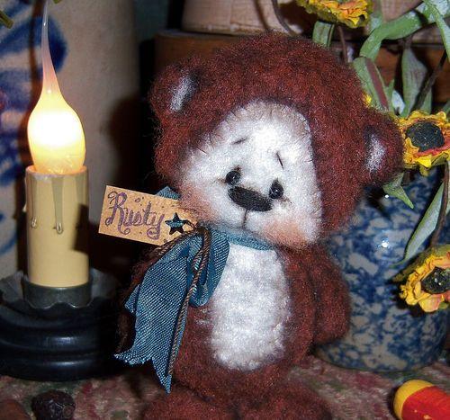"""Primitive Raggedy Teddy Fuzzy Cub Bear 4"""" Mini Doll ★ Vtg Patti's Ratties Ornie"""